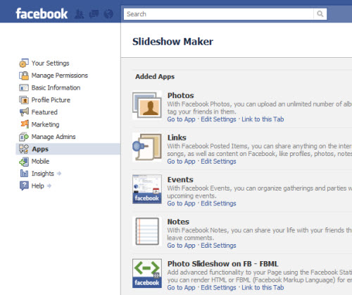 Add flash slideshow facebook HTML code