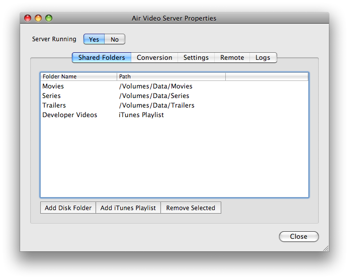 air video server setting up