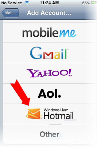 setup Hotmail on iPhone 4 s