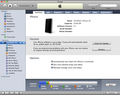 sync iphone 4s with iTunes