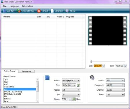 Koyote free video converter is can convert your videos from and tovarious ...